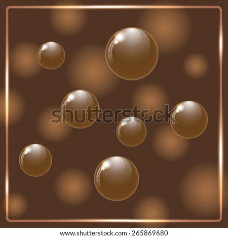 Brown chocolate balls on brown background. Vector ilustration. - stock vector