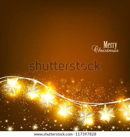 Brown Christmas  background with luminous garland. Vector illustration - stock vector