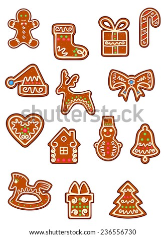 Brown Christmas gingerbread and cookies with man, deer, hat, heart, home, bell, horse, pine tree, gift and snowman - stock vector