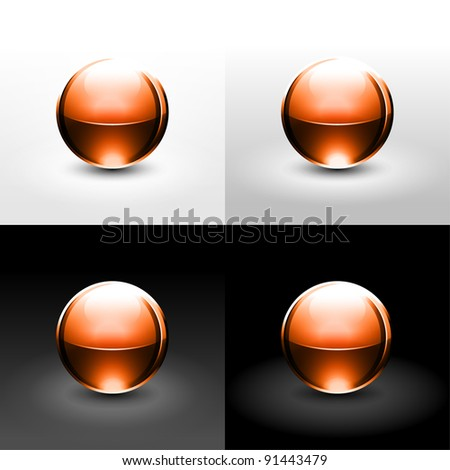 Brown chrome metal ball with black shadow and glowing on white, gray and black background. This vector illustration created in the technique of wire mesh and saved 10 eps - stock vector