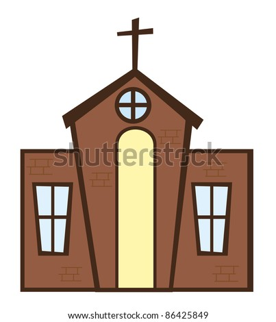 brown church with cross isolated over white background. vector