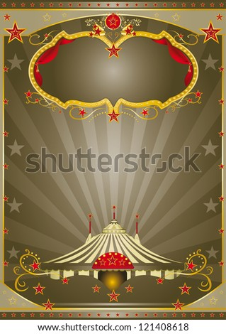 Brown Circus Night. A circus vintage poster with a stage and sunbeams for your advertising - stock vector