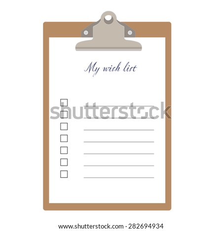 Brown clipboard and my wish list with empty check boxes vector illustration. Survey icon, checklist icon  - stock vector