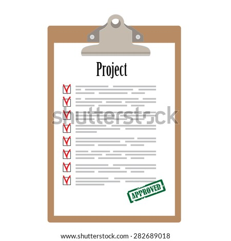 Brown clipboard and project list with check boxes marked with green rubber stamp approved vector illustration. Survey icon, checklist icon  - stock vector