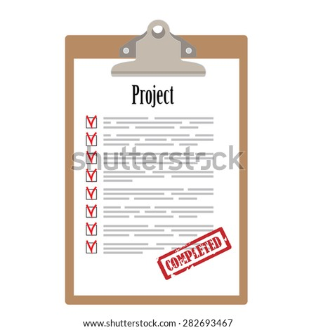 Brown clipboard and project list with check boxes marked with red rubber stamp completed vector illustration. Survey icon, checklist icon