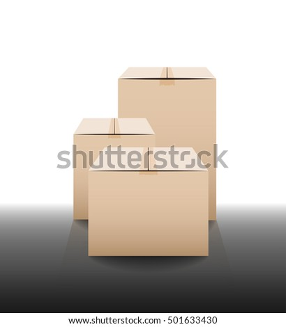 Brown closed carton delivery packaging boxes with reflections. Vector illustration
