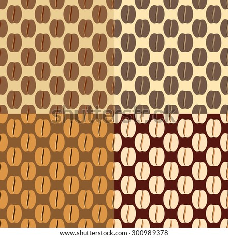 brown coffee beans, seamless pattern - stock vector