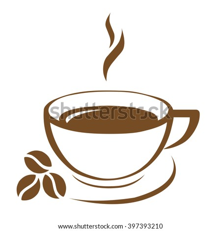 brown coffee cup icon coffee beans vector. - stock vector