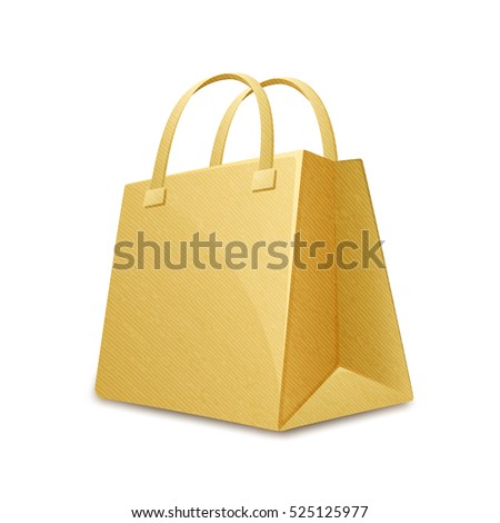 Brown color cardboard paper shopping bag. Paper shopping bag. Vector illustration