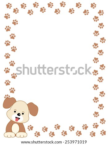 Brown Color Dog Paw Print Border Stock Vector 253971019 - Shutterstock