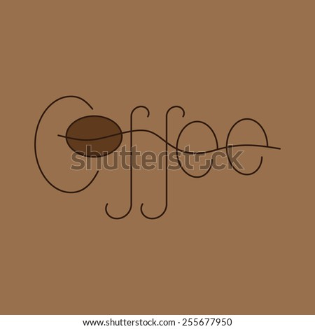 Brown colored lettering coffee isolated on beige background. Logo template, design element - stock vector