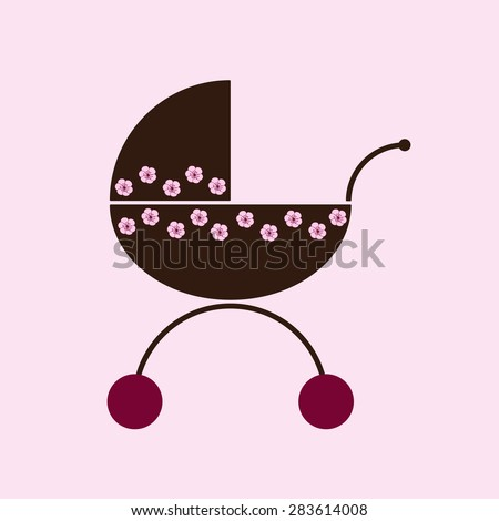 Brown colored prams decorated with pink flowers with cherry colored wheel isolated on white background. Logo template, design element - stock vector