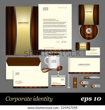 Brown corporate identity template on a yellow old paper. Vector company style for brandbook and guideline. EPS 10 - stock vector