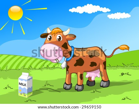 brown cow on the meadow - stock vector