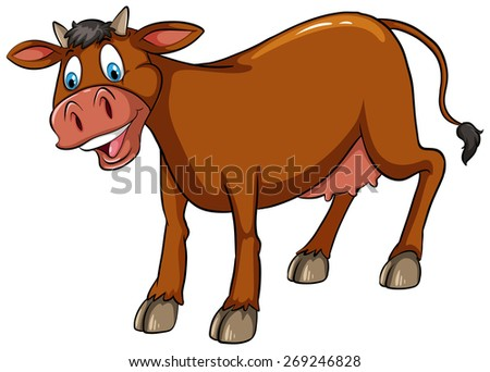 Brown cow standing with white background - stock vector