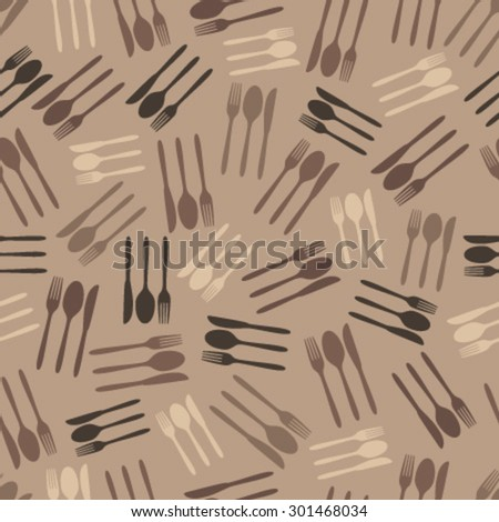 brown cutlery seamless pattern - stock vector