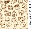 Brown desserts seamless pattern - stock vector