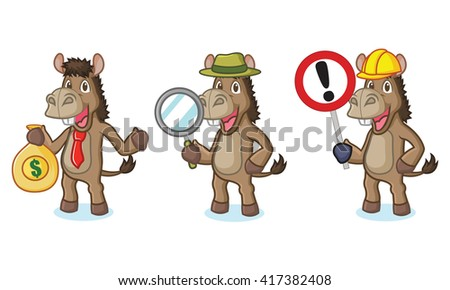 Brown Donkey Mascot with sign, money and magnifying - stock vector