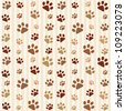 brown footprints seamless pattern - stock vector