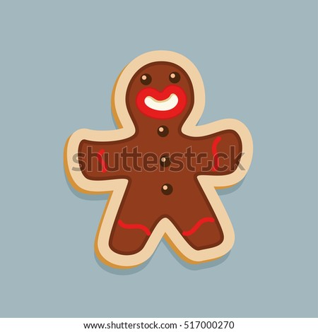 Brown Gingerbread man Christmas cookie character Vector illustration.