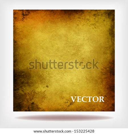 brown gold vector background for Christmas signs or elegant billboard background, rough distressed vintage grunge texture frame with bright golden center, poster backdrop, large size - stock vector