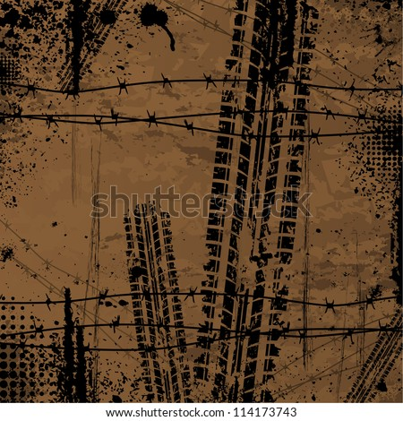 Brown grunge background with black tire track and halftones