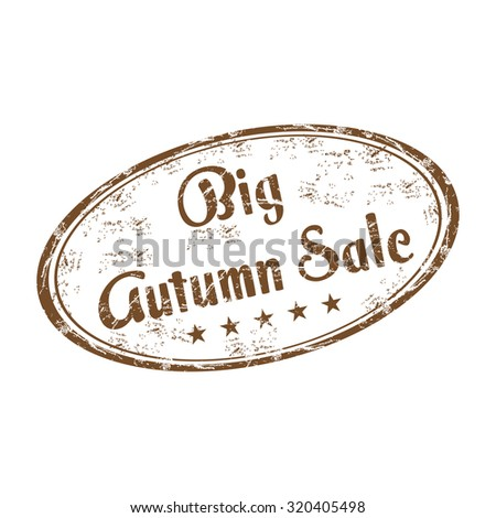 Brown grunge rubber oval stamp with the text big autumn sale written inside the stamp - stock vector