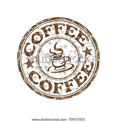 Brown grunge rubber stamp with coffee cup and the text coffee written inside the stamp - stock vector