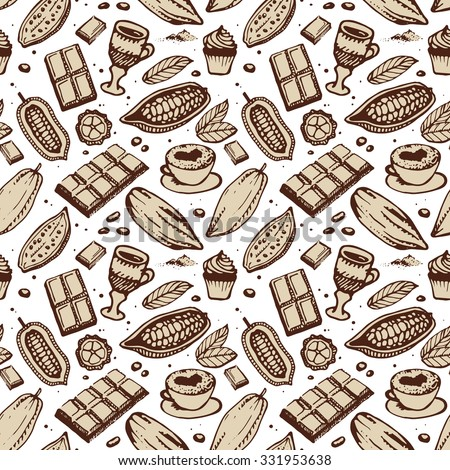 Brown hand drawing pattern on the lite background. Cacao, beans, chocolate, cake, cup of hot chocolate, mug, latte. For menu and box design: horeca, cafe, bar, restaurant, cooking, bakery. - stock vector
