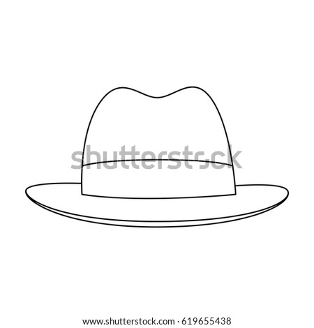 Brown hat with a brim. Headdress investigator for cover.Detective single icon in outline style vector symbol stock illustration.