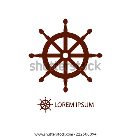 Brown helm as logo with copy space on white background. Sea theme - stock vector