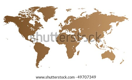 Brown high quality vector map of the World. - stock vector