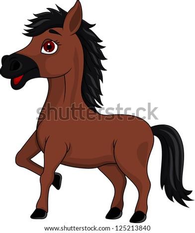 Brown horse cartoon - stock vector