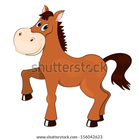 Brown horse. Isolated on white. Vector cartoon illustration.
