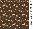 Brown horses seamless pattern - stock vector