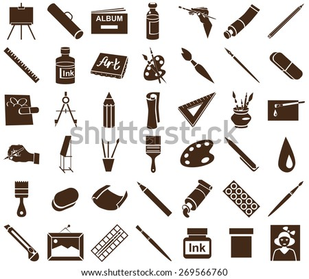 brown icons attribute art and stationery in white background. - stock vector