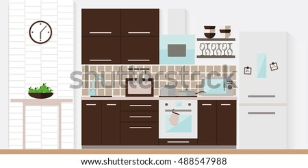 Brown kitchen interior with furniture. Flat vector illustration.