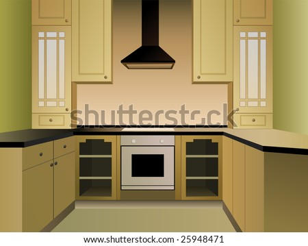 brown kitchen vector