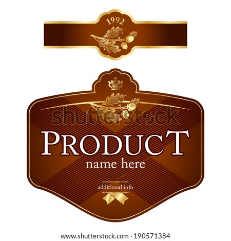 Brown label template - stock vector