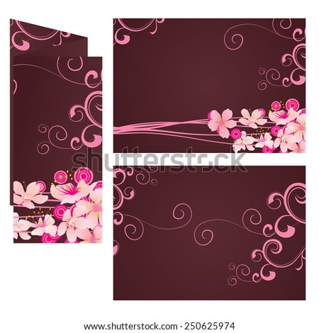 brown leaflet template with pink flowers - stock vector