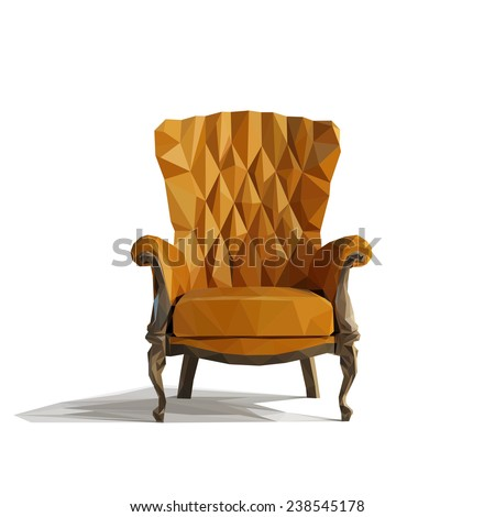 Brown Leather armchair over the white. Low-Poly style. Vector illustration