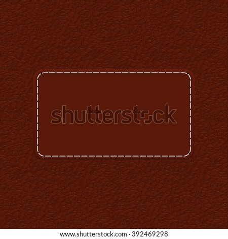 Brown leather background with blank label. Vector illustration