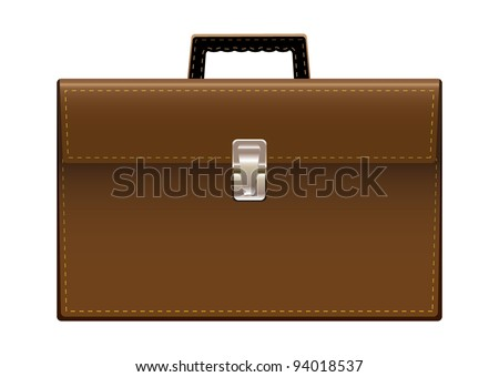 Brown leather briefcase with handle and stitching