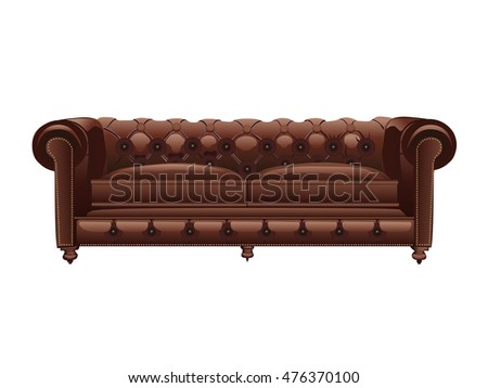Brown leather chester sofa. Vector illustration. Isolated object