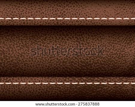 Brown leather vector texture with seam, part of clothes - stock vector