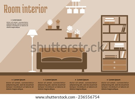 Brown living room interior in flat style for house interior design or infographic template - stock vector