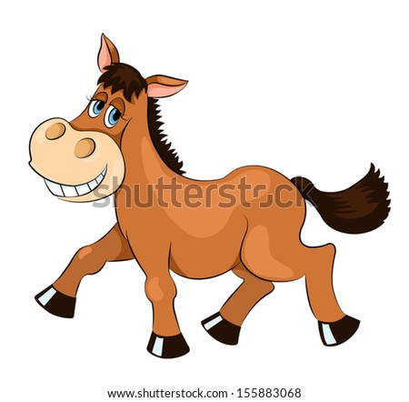 Brown mad horse. Isolated on white. Vector cartoon illustration.
