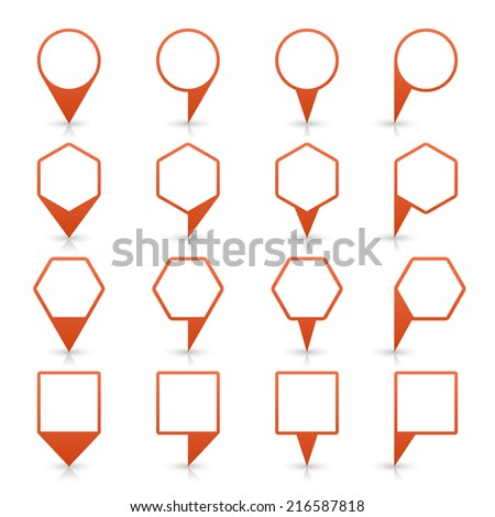 Brown map pin icon location sign with gray reflection and shadow isolated on white background  in flat simple style. This web design element save in vector illustration 8 eps - stock vector