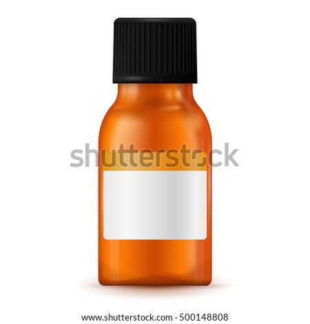 Brown medical bottle with blank label. Vector illustration isolated on white background
