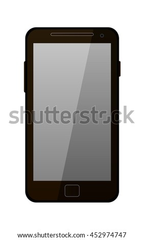 Brown modern mobile phone isolated on white. Vector illustration
